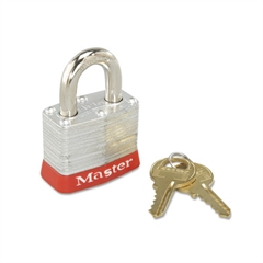 Master Lock Steel Body Safety Padlock, 4 Pin Tumbler, Red Bumper