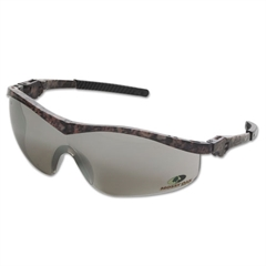 Crews Mossy Oak Safety Glasses, Forest-Floor-Camo Frame, Silver-Mirror Lens
