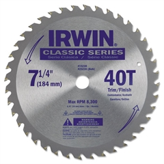 "IRWIN 40T Carbide-Tipped Circular Saw Blade, Trim/Finish, 7-1/4"" Diameter"
