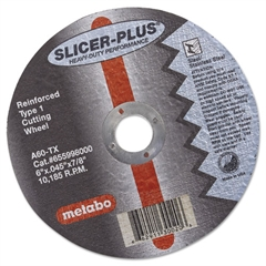 "metabo SLICER-PLUS High-Performance Cutting Wheel, 6"" x .045 x 7/8"", Type 1, A60TX"