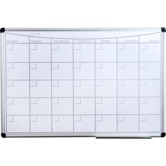 "Viztex Lacquered Steel Magnetic Monthly Planner Dry Erase Board with an Aluminium frame (36""x24"")"