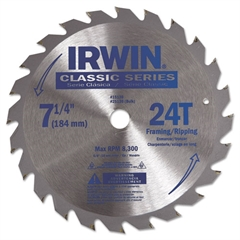 "IRWIN 24T Carbide-Tipped Circular Saw Blade, 7-1/4"" Diameter"
