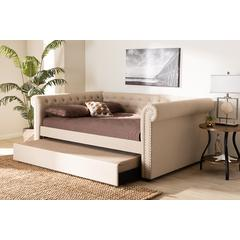 Baxton Studio Mabelle Modern and Contemporary Beige Fabric Upholstered Queen Size Daybed with Trundle