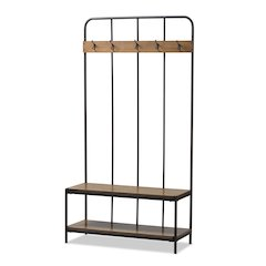 Hull Rustic Industrial Style Antique Black Metal and Wood Entryway Hall Tree