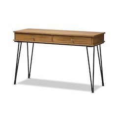 Toma Rustic Industrial Metal and Distressed Wood 2-Drawer Storage Desk