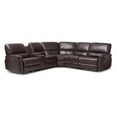 Amaris Modern and Contemporary Dark Brown Bonded Leather 5-Piece Power Reclining Sectional Sofa with USB Ports
