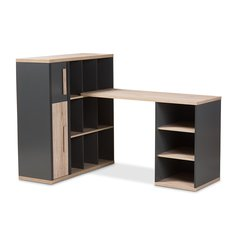 Pandora Modern and Contemporary Dark Grey and Light Brown Two-Tone Study Desk with Built-in Shelving Unit