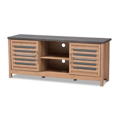 Pacific Modern and Contemporary Light Brown and Grey Two-Tone Finished 59-Inch TV stand