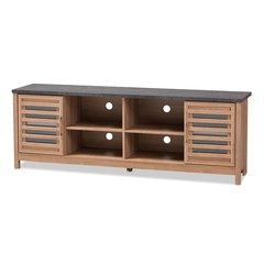 Pacific Modern and Contemporary Light Brown and Grey Two-Tone Finished 71-Inch TV stand