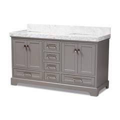 Amaris 60-Inch Transitional Grey Finished Wood and Marble Double Sink Bathroom Vanity