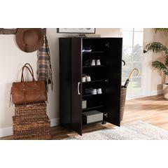 Baxton Studio Marine Modern and Contemporary Wenge Dark Brown Finished 2-Door Wood Entryway Shoe Storage Cabinet