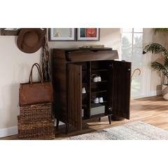 Baxton Studio Cormier Mid-Century Modern Walnut Brown finished 2-Door Wood Entryway Shoe Storage Cabinet