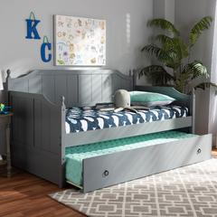 Baxton Studio Millie Cottage Farmhouse Grey Finished Wood Twin Size Daybed with Trundle