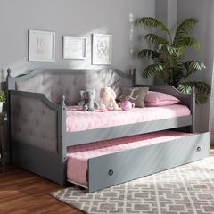 Baxton Studio Mara Classic and Traditional Grey Fabric Upholstered Grey Finished Wood Twin Size Daybed with Trundle