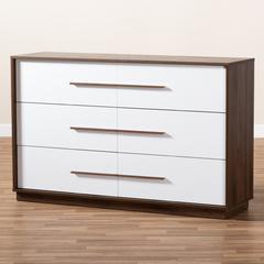 Baxton Studio Mette Mid-Century Modern White and Walnut Finished 6-Drawer Wood Dresser