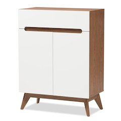 Calypso Mid-Century Modern White and Walnut Wood Storage Shoe Cabinet
