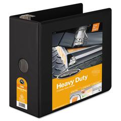 "Heavy-Duty D-Ring View Binder w/Extra-Durable Hinge, 5"" Cap, Black"