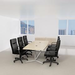 96W x 42D Boat Top Conference Table with Metal Base