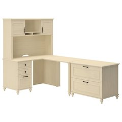 Home Office L Desk with Lateral File and Hutch
