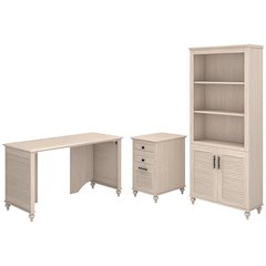51W X 23D Shell Desk With 3 Drawer File And Bookcase
