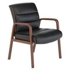 Soft Sense Leather Guest Chair with Wood Arms