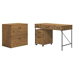 48W Writing Desk, 2 Drawer Mobile Pedestal, and Lateral File