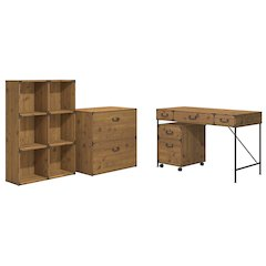 48W Writing Desk, 2 Dwr Mobile Ped, 6 Cube Bookcase, and Lateral File