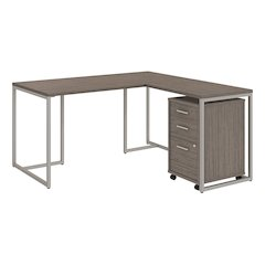 60W Desk with 30W Return and 3 Drawer Mobile Pedestal