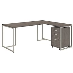 72W Desk with 30W Return and 3 Drawer Mobile Pedestal