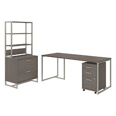 72W Desk with 3 Dwr Mobile Pedestal, Lateral File and Hutch