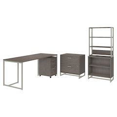 72W Desk, 3 Dwr Mobile Pedestal, Lateral File and Bookcase