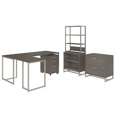 72W Desk with 30W Return, File Storage and Bookcase