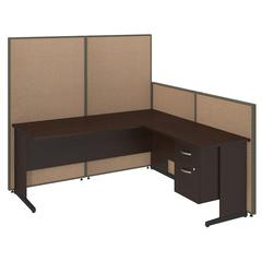 72W C-Leg L-Desk with 3/4 Pedestal in Mocha Cherry and Harvest Tan ProPanels