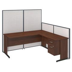 72W C-Leg L-Desk with 3/4 Pedestal in Hansen Cherry and Light Grey ProPanels
