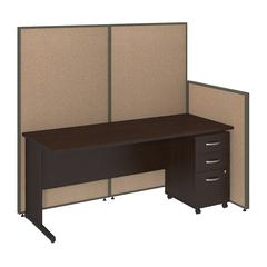 72W C-Leg Desk with 3 Drawer Mobile Pedestal in Mocha Cherry and Harvest Tan ProPanels