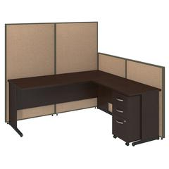 72W C-Leg L-Desk with 3 Drawer Mobile Pedestal in Mocha Cherry and Harvest Tan ProPanels