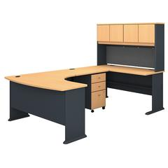 Series A 60W Right Handed U Shaped Desk with Hutch and Mobile File Cabinet