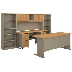 Series A 72W Desk with Credenza, Hutch, Bookcases and Storage