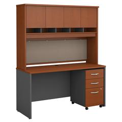 Series C 60W x 24D Office Desk with Hutch and Mobile File Cabinet
