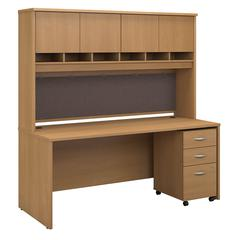 Series C 72W x 30D Office Desk with Hutch and Mobile File Cabinet