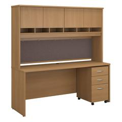 Series C 72W x 24D Office Desk with Hutch and Mobile File Cabinet