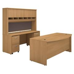 Series C Bow Front Desk with Credenza, Hutch and Storage