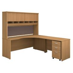 Series C 72W Right Handed Corner Desk with Hutch and Mobile File Cabinet