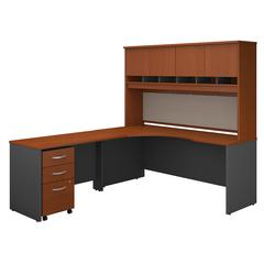 Series C 72W Left Handed Corner Desk with Hutch and Mobile File Cabinet