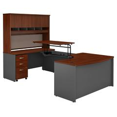 60W x 43D Left Hand Bow Front Sit to Stand U Station with Mobile Pedestal and Hutch