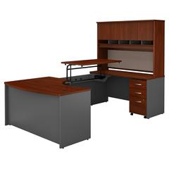 60W x 43D Right Hand Bow Front Sit to Stand U Station with Mobile Pedestal and Hutch