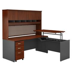 72W x 30D Sit to Stand L Desk with Hutch and Mobile Pedestal
