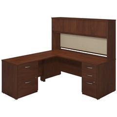 72W x 30D Desk Shell with 48W Return, Hutch and Storage in Hansen Cherry