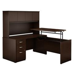 60W x 30D Sit to Stand L Desk with Hutch and Mobile Pedestal