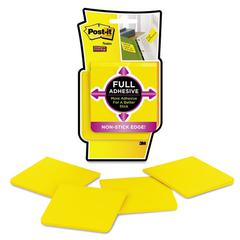 Full Adhesive Notes, 3 x 3, Electric Yellow, 4/Pack